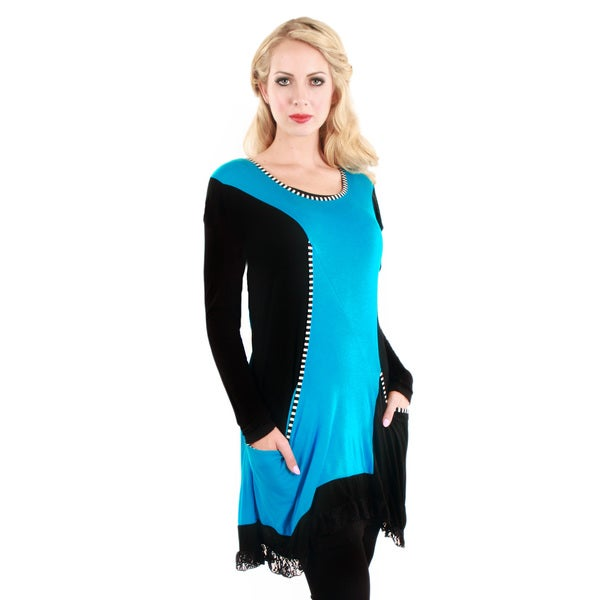 Firmiana Women's Black and Turquoise Trapeze-hem Tunic