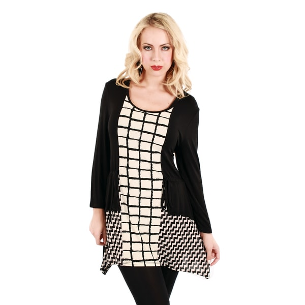 Firmiana Women's Black and White Check Patterned Long Sleeve Top