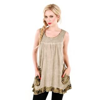 Women's Beige Sleeveless Ruffled-hem Tunic
