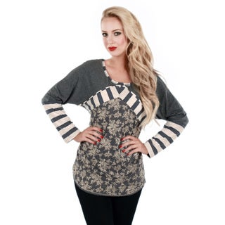 Women's Grey and White Floral Mixed Print Top