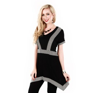 Women's Black and White Striped Accent Top