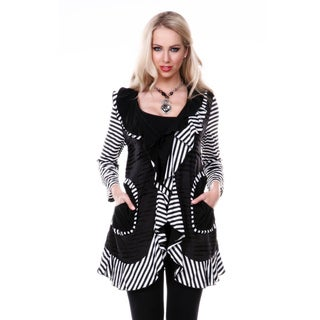 Women's Black and White Striped Open Cardigan with Ruffles