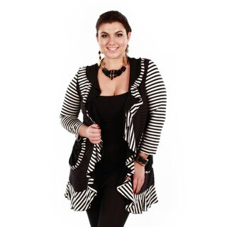 Women's Plus Black and White Striped Open Cardigan with Ruffles