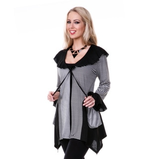 Firmiana Women's Black and White Striped Open Cardigan