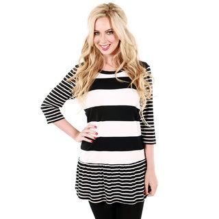 Women's Black and White Striped Ruffle-hem Top