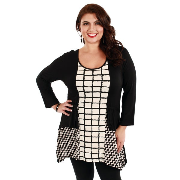 Firmiana Women's Plus Size Black Checker Pattern Tunic