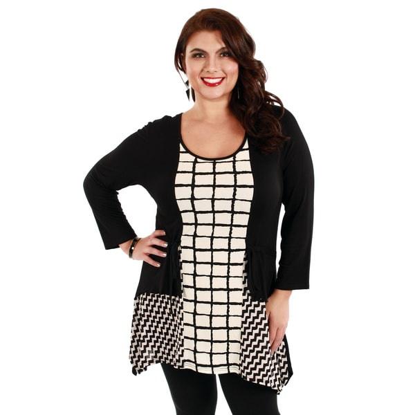 Firmiana Women's Plus Size Black Checker Pattern Tunic