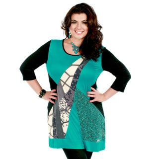 Women's Plus Size Black and Teal Mixed Pattern Spliced Top