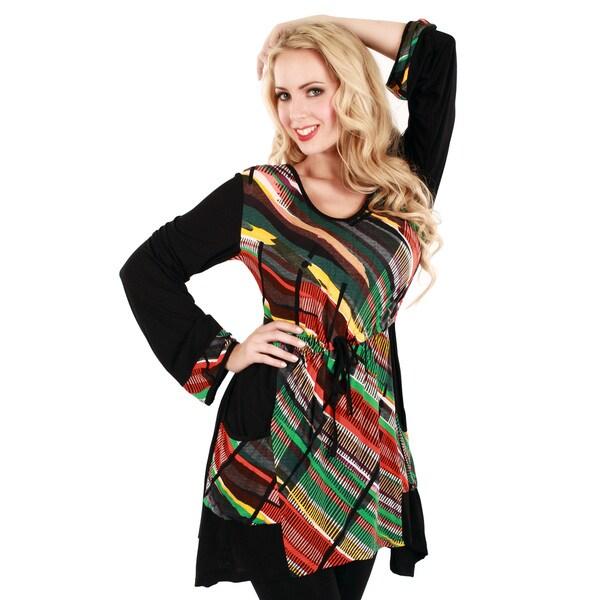 Firmiana Women's Black/ Multicolored Long Sleeve Trapeze Top