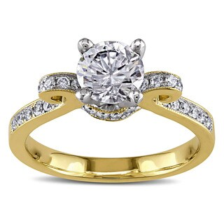 Miadora 14k Two-tone Gold White Cubic Zirconia and 1/4ct TDW Diamond Engagement Ring (G-H, I1-I2)