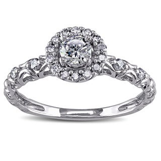 Miadora 14k White Gold Cubic Zirconia and 1/5ct TDW Diamond Halo Engagement Ring (G-H, I1-I2)