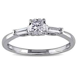 Miadora 14k White Gold White Cubic Zirconia and 1/8ct TDW Diamond 3-stone Engagement Ring (G-H, I1-I2)
