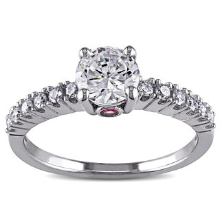 L'Amour Enrose by Miadora 14k White Gold Cubic Zirconia, Pink Sapphire and 1/4ct TDW Diamond Engagement Ring (G-H, I1-I2)