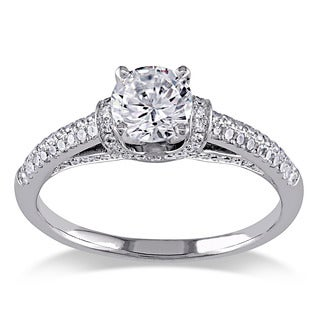 Miadora 14k White Gold White Cubic Zirconia and 3/8ct TDW Diamond Engagement Ring (G-H, I1-I2)