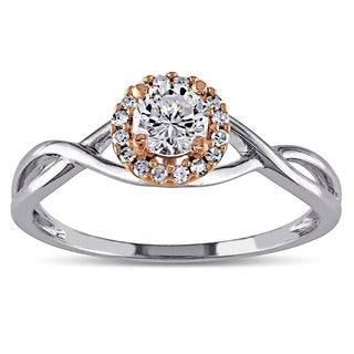 Miadora 10k Two-tone Gold Cubic Zirconia and 1/10ct TDW Diamond Halo Infinity Engagement Ring (G-H, I1-I2)