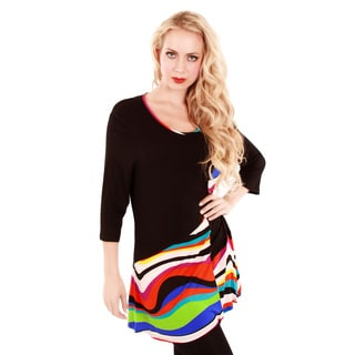 Firmiana Women's Black and Rainbow Striped Colorblocked Tunic