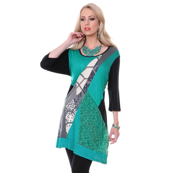Firmiana Women's Black and Teal Mixed Pattern Spliced Top
