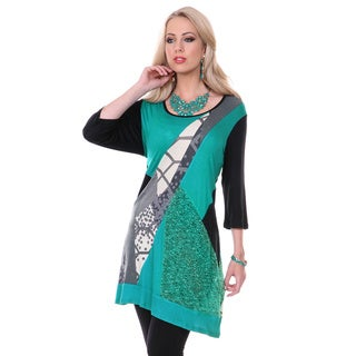 Women's Black and Teal Mixed Pattern Spliced Top