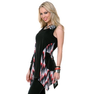 Women's Black and Multicolored Sleeveless Trapeze Tunic