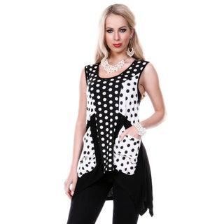 Women's Black and White Polka-dot Sleeveless Trapeze Tunic