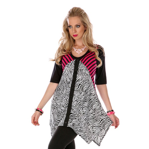 Firmiana Women's Black and Pink Zebra Striped Tunic