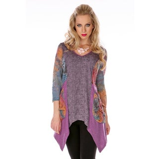 Firmiana Women's Pink Multicolored Mash-up Trapeze Tunic