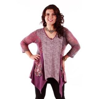 Women's Plus Size Pink Multicolored Mash-up Trapeze Tunic