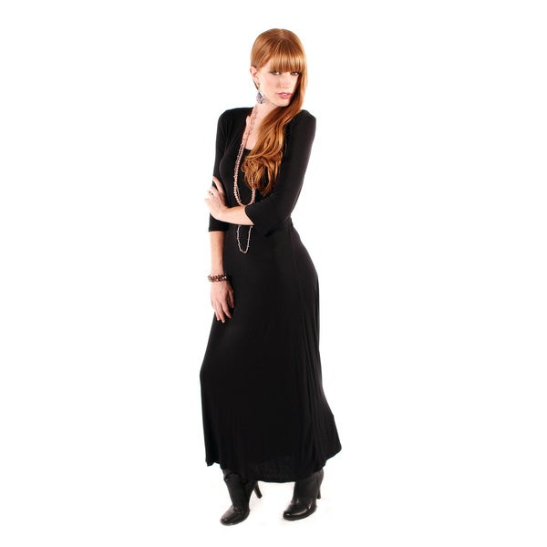 Firmiana Women's Black 3/4-sleeve Maxi Dress