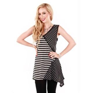 Women's Polka-dots and Stripes Sleeveless Tunic