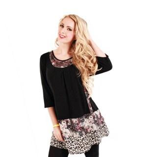 Women's Black/ Leopard Long-line Tunic