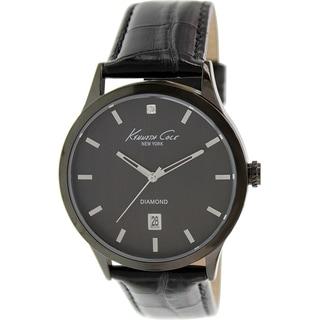 Kenneth Cole Men's KC8071 Black Leather Quartz Watch with Black Dial