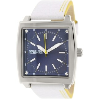 Kenneth Cole Reaction Men's RK1426 White Leather Quartz Watch with Blue Dial