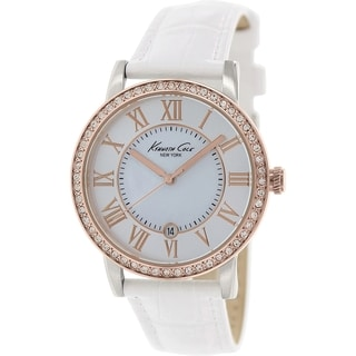 Kenneth Cole Women's KC2836 White Leather Quartz Watch with Mother-Of-Pearl Dial