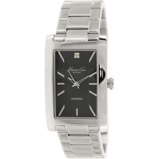 Kenneth Cole Men's KC9284 Silver Stainless-Steel Quartz Watch with Black Dial