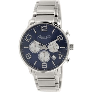 Kenneth Cole Men's KC9305 Silver Stainless-Steel Quartz Watch with Blue Dial