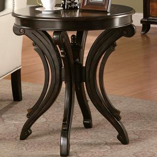 Distressed Black and Brown Accent Table with Decorative Base