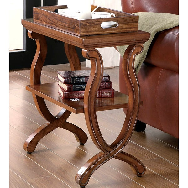 Twist Accent Table with Tray Style Top
