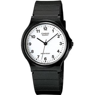 Casio Men's Core MQ24-7B Black Resin Quartz Watch with White Dial