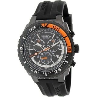 Nautica Men's Nst 700 N16657G Black Rubber Quartz Watch with Black Dial