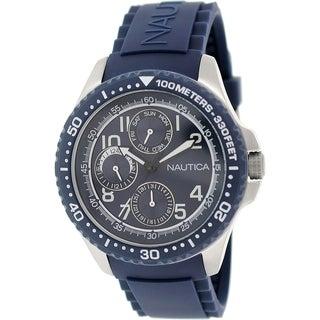 Nautica Men's Nsr 200 N13686G Blue Rubber Quartz Watch with Blue Dial