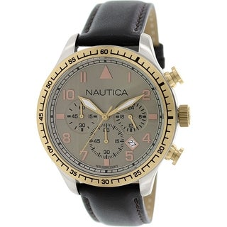 Nautica Men's Bfd 105 N17656G Brown leather Quartz Watch with Brown Dial