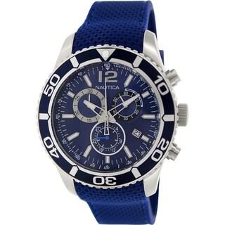Nautica Men's Nst 09 N15103G Blue Rubber Quartz Watch with Blue Dial