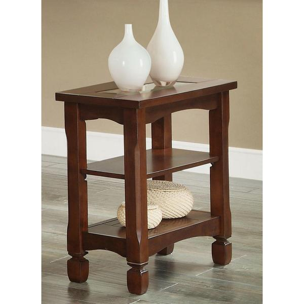 Angelic Accent Table with Tempered Glass Top