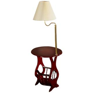 Cherry Accent Table with Lamp and Magazine Rack