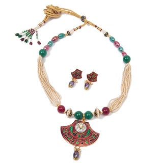 Kundan Necklace and Earrings Set (India)