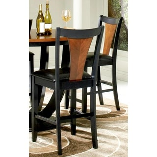 Besancon Two-tone Black/ Cherry Counter Height Dining Stools (Set of 2)