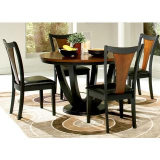 Besancon 5-piece Two-tone Black/Cherry Dining Set