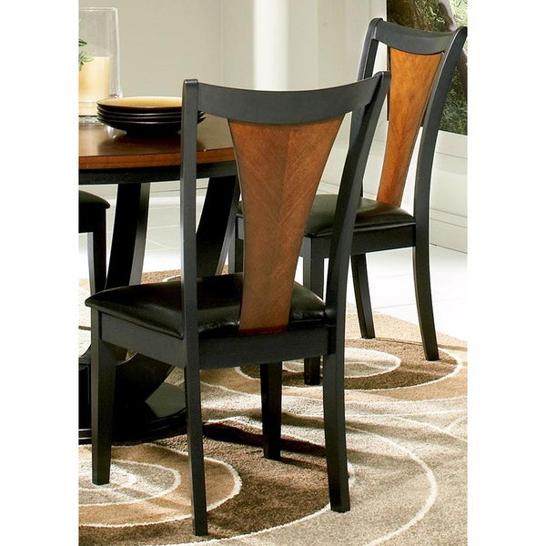 Besancon Two-tone Black/Cherry Dining Chairs (Set of 2)
