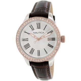 Nautica Women's Bfd 101 N12654M Brown leather Quartz Watch with Silver Dial