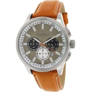 Nautica Men's Nct 17 N16692G Orange Leather Quartz Watch with Brown Dial